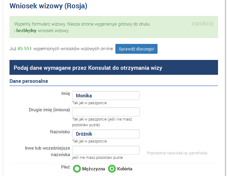 wiza do Rosji - dane