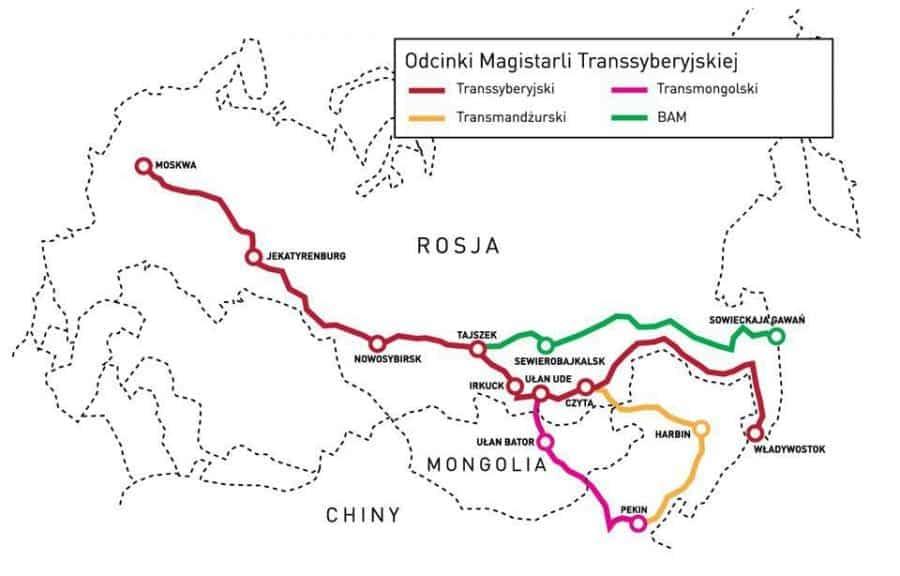 mapa Magistrali Transsyberyjskiej