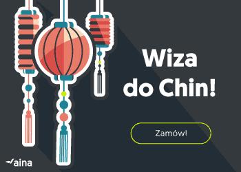 Czerwone chińskie lampiony na czarnym tle i napis: wiza do Chin - zamów