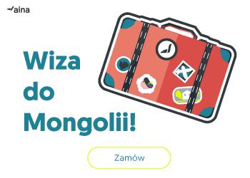 Walizka na białym tle i napis: Wiza do Mongolii - zamów