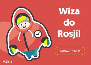 Bardzo ciepło ubrany człowiek na czerwonym tle i napis: Wiza do Rosji - sprawdź nas.