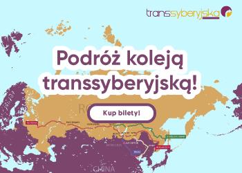 Mapa kolei transsyberyjskiej i napis: Podróż koleją transsyberyjską - kup bilety.